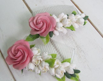 Flower Hair Comb, Comb, hair comb, hair accessories, flovers, accessories, claycraft by deco, clay, polymer clay, wedding, accessory