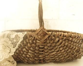 Primitive Gathering Basket Woven Splint Basket Rustic Farmhouse Style