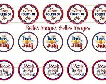 4th of July Bottle Cap Images 1 inch Circles, toppers, holiday, SALE!