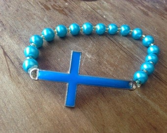Cross stretch bracelet, turquoise blue