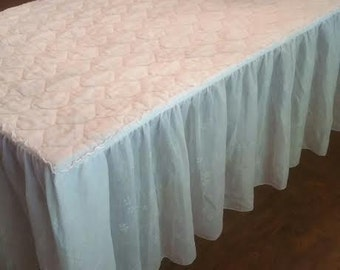 Vintage White Bedspread - Vintage Full Bedspread - Vintage White Bed Cover - Vintage Bed Cover - Skirted Bedspread - White Bedspread