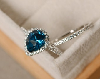 Blue topaz ring, pear engagement ring, sterling silver, pear shaped ring