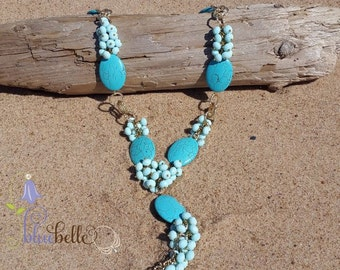 Necklace, natural turquoise beads necklace, crystal glass necklace, hand made with love