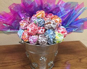 Snowflake pail candy bouquet