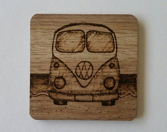 Pyrographed Wooden Camper Van Coasters