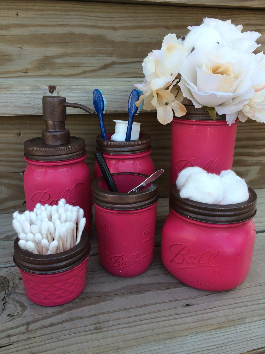 Mason Jars Bathroom Set Organizer Birthday Gift Raspberry