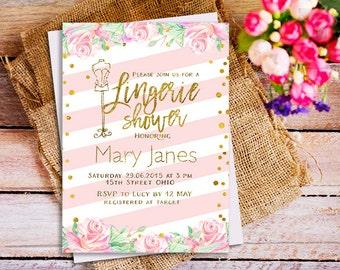 Lingerie Invitation, Lingerie Bridal Shower Invites, Blush Pink Lingerie Bridal Shower Invitation, watercolor lingerie bridal invitation
