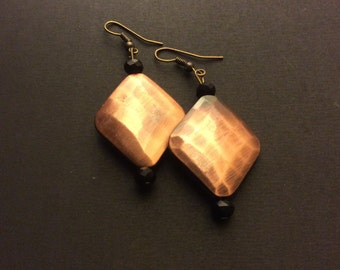 Rose Gold and a Black Earrings