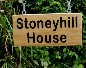 Double Sided Personalised Wooden Signs/Engraved Oak Hanging Signs/Address/Number/Housewarming Gift