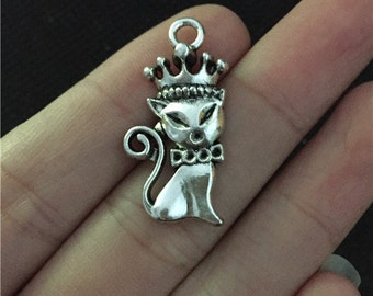 20 Crown Cat Charms Antique Silver Tone Simply Adorable