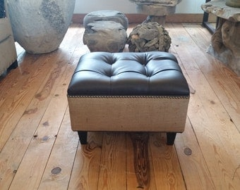 """24"""" Upholstered Ottoman- Vegan Leather and Burlap Ottoman with Nail Head- Tufted ~ Design 59"""