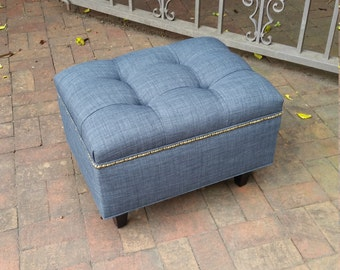 "24x18"" Tufted Denim Ottoman- Footstool- Upholstered Coffee Table- Contemporary Furniture~ Design 59 inc"
