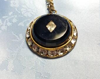 Vintage BLACK and Rhinestone Pendant Necklace Goldtone