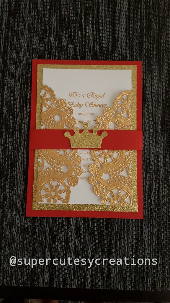 royal prince red and gold glitter baby shower invitations