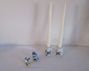 Vintage Porcelain Bird Candle Holders and Bird Figurines