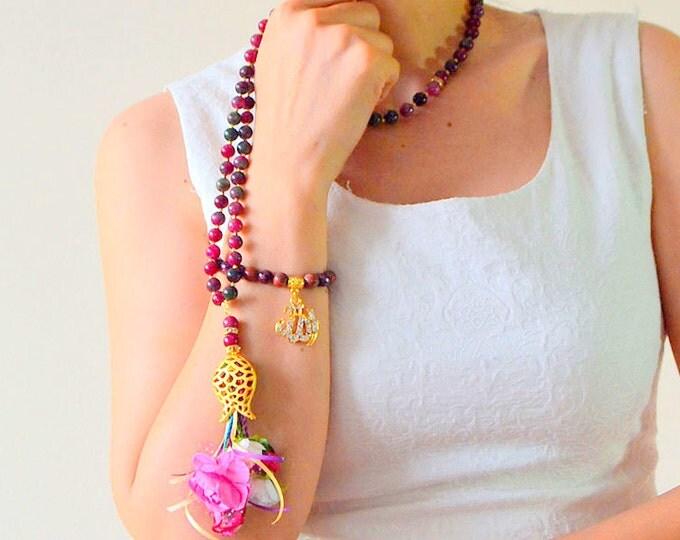 turkish doa beads, blue glass beads rosary/ rose tasbeeh/ 99 bead/ flower rosary/ istanbul rosary/ handmade rosary, islamic gift, muslim gif