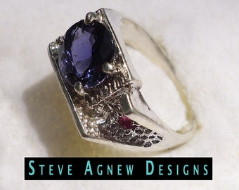 Iolite and Ruby Ring