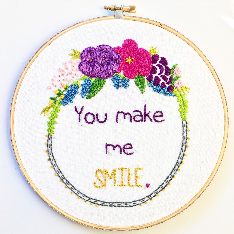 Custom hoop embroidery wall hanging art