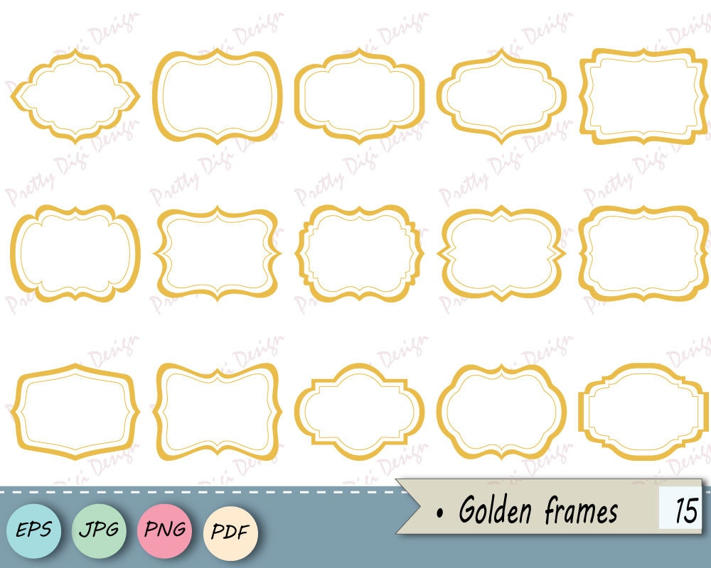 Instant Download Clipart Golden Frames Png Jpg Vector