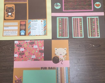 Cat premade scrapbook pages