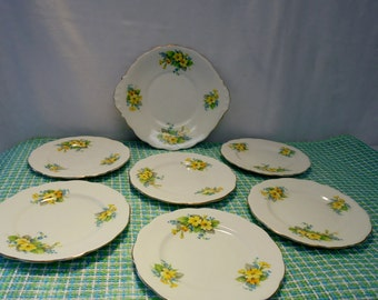 7pc. English Dessert Set by Rosyln China