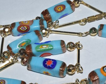 Millefiori and bar link necklace
