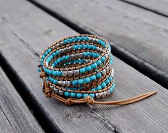 Turquoise Bracelet Leather Turquoise Wrap Bracelet Charm Bracelet Leather Wrap Bracelet Sister Gift Friendship Bracelet