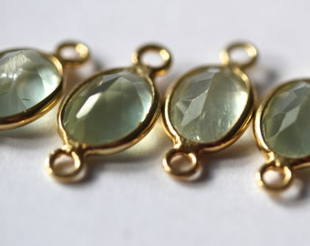 AA Gold Vermeil Prehnite Cut Oval Connectors - Set of Five