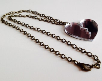 Sale | Broken Heart | Love | Heart | Emo | Silver Mirrored | Laser Cut | Acrylic | Necklace