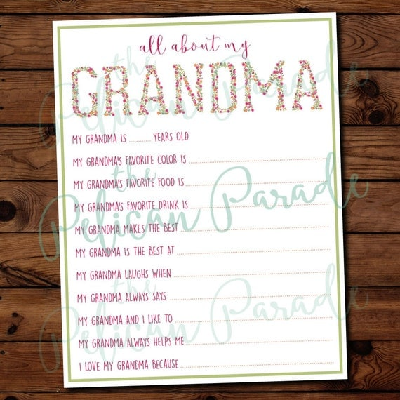 Fabulous image pertaining to all about my grandma printable