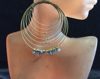 Vintage Large Long Goldtone Wired Dangling Blue Beaded Pierced Earrings