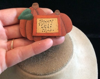 Vintage Large Wooden HAPPY FALL Pumpkin Pin