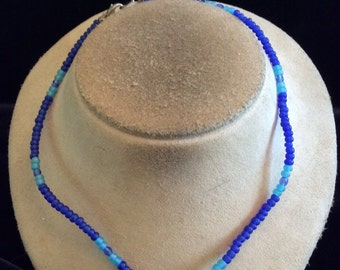 Vintage Baby Blue & Royal Blue Glass Beaded Necklace