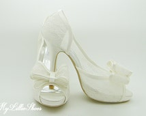 Shoes ~ Lace Bow High Heels ~ Wedding, Bridesmaid, Mother of the Bride, Flower Girl, Spring, Summer, Guest, Sweet 16, Evening Shoes, Prom
