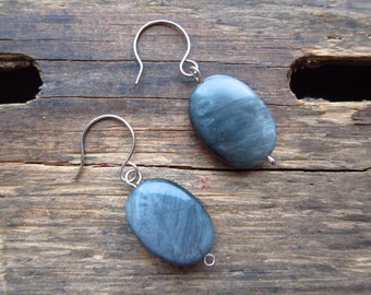 Metallic Gray Stone Dangle Earrings made from Recycled Jewelry One of a Kind