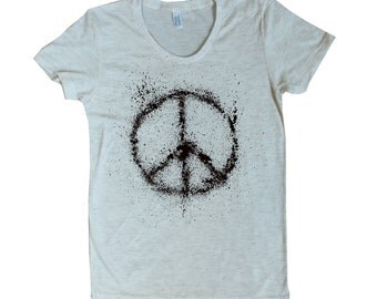 Women's Peace Sign American Apparel t shirt done in ink splatter - 16 Colors available - sizes S M L XL