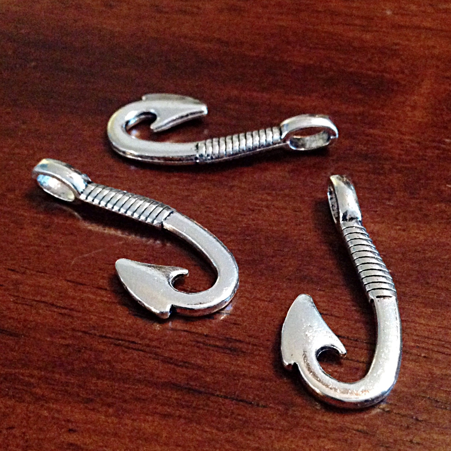 12 large fish hook charms antique silver charms silver for Fish hook charm