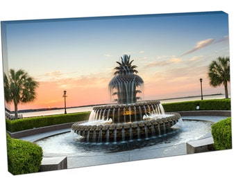 FO2422 Print On Canvas Pineapple fountain charleston Waterfront Park US