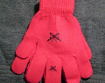 Hot Pink Kid Gloves w/Butterflies (MC008)