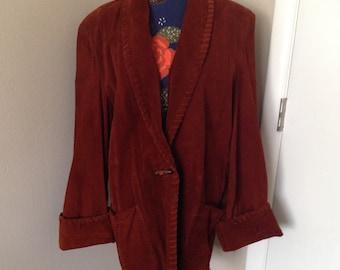 Vintage womens suede leather coat oversized bohemian hippie boho 1970s