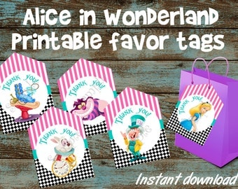 Alice in Wonderland favor tags, Alice in Wonderland printable tags, Alice in Wonderland thank you tags, Alice in Wonderland party tag