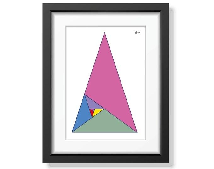 Fibonacci triangles 06 [mathematical abstract art print, unframed] A4/A3 sizes