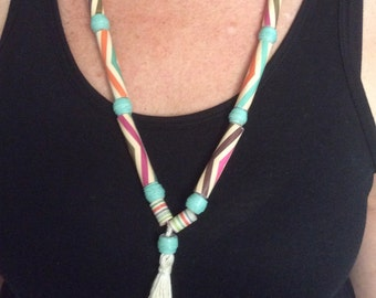 Hand Rolled Paper Bead Necklace with Tassel Tribal Style