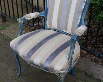 Gilded Shabby Chic French Louis XV Style Fauteuil Arm Chair