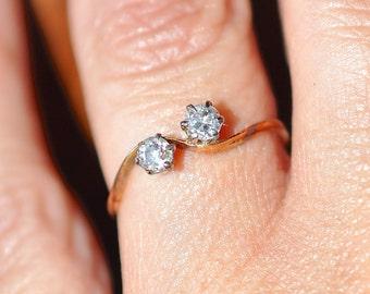 Art Deco 1900-1920 Engagement Ring 18ct 0.35pt 2 diamond Sz O 3/4 US 71/4 1.60gm