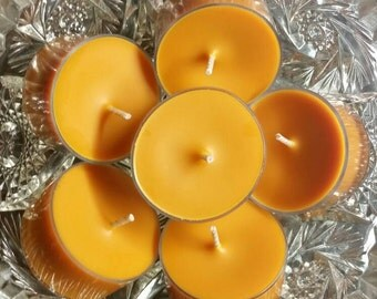 Amber Noir Tea Lights / Scented Tea Light Candles / All Natural Soy Wax (Set of 6) - 5 Hour Burn