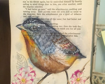 Watercolor Bird on Antique Book Page
