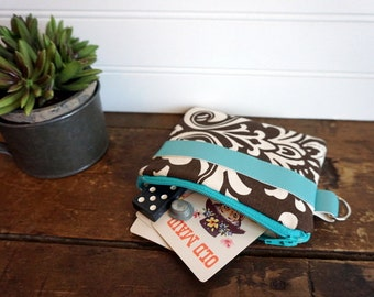 Small Zipper Bag - Brown Paisley, Aqua Trim with Key Ring, Small Coin Purse, Credit Card or Gift Card Holder