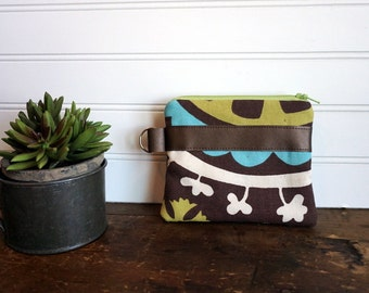Small Zipper Bag - Brown, Aqua and Lime Paisley Flower with Brown Trim with Key Ring, Small Coin Purse, Credit Card or Gift Card Holder