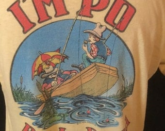 Vintage 1980's Fishing T-shirt Cartoon 50/50 Thin and Soft